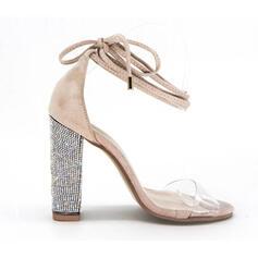 Vrouwen Kunstleer Chunky Heel Sandalen Pumps met Vastrijgen schoenen