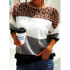 Color Block Leopard Round Neck Casual Sweaters