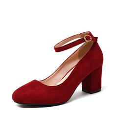 Жіночі Замша Квадратні підбори Насоси Закритий палець з Пряжка взуття