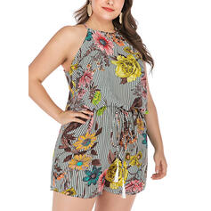 Floral Print Striped Halter Sleeveless Casual Vacation Romper
