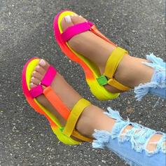 Women's Canvas Flat Heel Sandals Pumps Platform Peep Toe With Hollow-out Velcro shoes