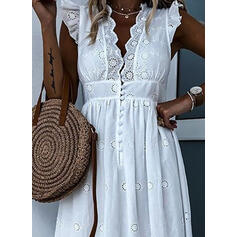 Solid Cap Sleeve A-line Skater Casual/Vacation Maxi Dresses