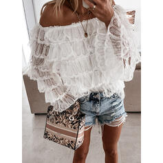 Solid Lace Off the Shoulder Flare Sleeve Long Sleeves Casual Blouses