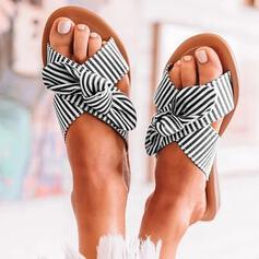 Femmes PU Talon plat Sandales Chaussons avec Bowknot Ouvertes chaussures