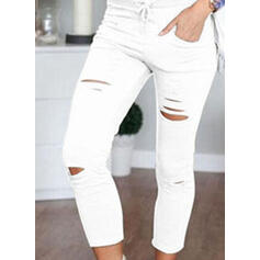 Solid Capris Casual Skinny Solid Pants