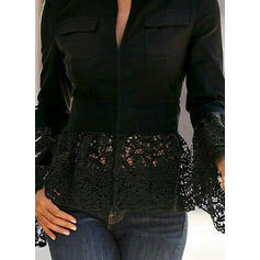 Solid Lace V-Neck Flare Sleeve Long Sleeves Elegant Blouses