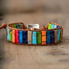 Coloré Boho Natural Stone Corde tressée Femmes Bracelets