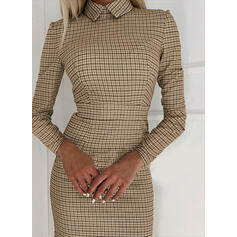 Plaid Long Sleeves Bodycon Above Knee Elegant Dresses