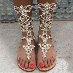 De mujer Cuero Tacón plano Sandalias Planos Encaje Botas longitud media con Rhinestone Cremallera zapatos