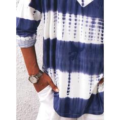Bloque de color Tie Dye Cuello en V Manga Larga Casual Blusas