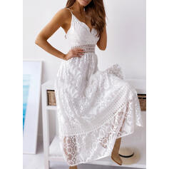 Lace/Solid Sleeveless A-line Slip/Skater Sexy/Casual/Vacation Maxi Dresses