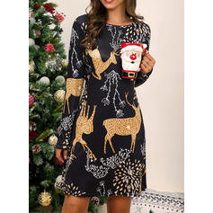 Print Long Sleeves Shift Knee Length Christmas/Casual Dresses