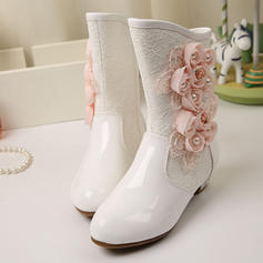 Girl's Leatherette Flat Heel Closed Toe Boots With Beading Flower Applique