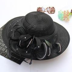 Señoras' Estilo clásico/Hecha a mano Batista/Organdí con Flores de seda Sombreros Playa / Sol
