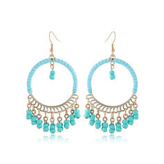 Fashionable Boho Alloy Beads With Tassels Earrings (Set of 2)