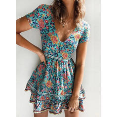 Print/Floral Short Sleeves A-line Above Knee Casual/Vacation Skater Dresses