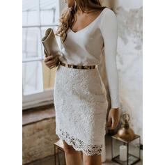 Koronka/Jednolita Długie rękawy Bodycon Długośc do kolan Przyjęcie/Elegancki Ołówkowa Sukienki