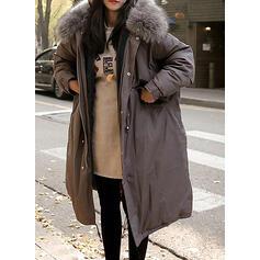 Polyester Taklit kürk Uzun kollu Sade harman ceket