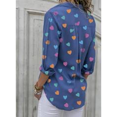 Εκτύπωση Πετό Μακρυμάνικο Χωρίς Κουμπιά Κολάρου Μπλούζες Πουκάμισα