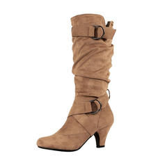 Women's Suede Low Heel Boots Knee High Boots With Buckle shoes