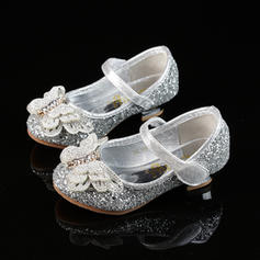 Girl's Sparkling Glitter Low Heel Closed Toe Flower Girl Shoes With Bowknot Rhinestone Velcro