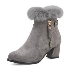 Women's Suede Wedge Heel Boots Closed Toe With Zipper