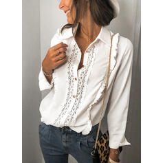Solid Lace Lapel Long Sleeves Button Up Casual Shirt Blouses