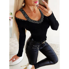 Solid V-neck Long Sleeves Casual Elegant Sexy Knit Blouses