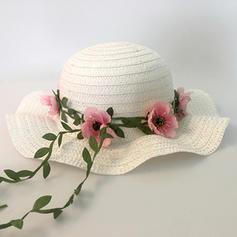 Dziecka Piękny Rattan słomy Z Kwiat jedwabiu Floppy Hat/Słomiany kapelusz/Czapki Tea Party