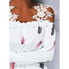 Print Lace Cold Shoulder Long Sleeves Cold Shoulder Sleeve Casual Blouses