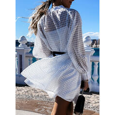 Solid/Hollow-out Long Sleeves Shift Above Knee Vacation Tunic Dresses