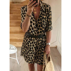 Leopard 1/2 Sleeves A-line Above Knee Casual Shirt/Skater Dresses