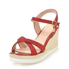 Frauen Funkelnde Glitzer Keil Absatz Sandalen Keile Peep Toe Slingpumps mit Schnalle Schuhe