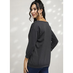 Print One Shoulder Lange Mouwen Kerst Sweatshirt