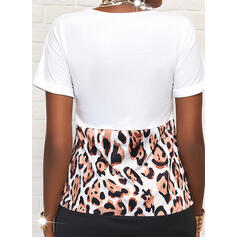 Wyszczuplająca/lampart Krótkie rękawy Koktajlowa Nad kolana Casual T-shirt Sukienki