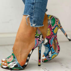 Women's PU Stiletto Heel Sandals Peep Toe With Animal Print shoes
