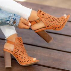 Women's Cloth Chunky Heel Sandals Peep Toe With Hollow-out shoes