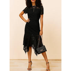 Lace/Solid Short Sleeves Sheath Knee Length Little Black/Party/Elegant Dresses
