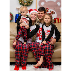 Plaid Baskı Aile Eşleşen Noel Pijamaları