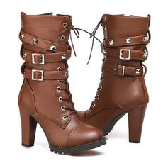 Women's Leatherette Chunky Heel Pumps Boots With Buckle Zipper shoes