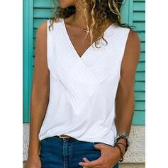 Sólido Escote en V Sin mangas Casual Camisetas sin mangas