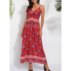 Nadrukowana Bez rękawów W kształcie litery A Casual/Boho Maxi Sukienki