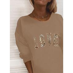 Print Leopard Figure Round Neck Long Sleeves Sweatshirt