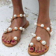 Women's PU Flat Heel Sandals Flats With Pearl shoes