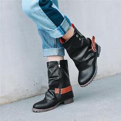 Femmes PU Talon plat Chaussures plates Bout fermé Bottes avec Boucle chaussures