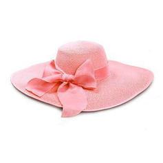 Dames Glamour Raphia paille avec Bowknot Chapeaux de plage / soleil