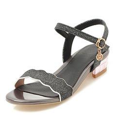 De mujer Brillo Chispeante Tacón bajo Sandalias Encaje con Hebilla zapatos