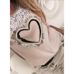 Lace Sequins Round Neck Long Sleeves Casual Blouses