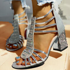 Women's PU Chunky Heel Sandals Pumps Peep Toe Heels With Rhinestone Sequin Zipper shoes