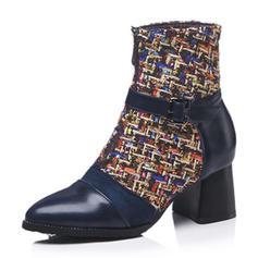 Femmes Similicuir Talon bottier Bottes Bottines avec Boucle Semelle chaussures